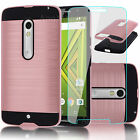 Shockproof Armor Case Hybrid Brushed Cover for Motorola Droid MAXX 2 Rose Gold