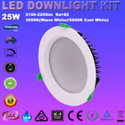 1/6pcsX25W LED DOWNLIGHT KIT 160MM CUTOUT DIMMABLE IP44 WHITE WARM OR COOL WHITE