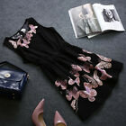 Women Casual Sleeveless butterfly Evening Party Cocktail Sexy black Dress ATAU