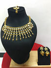 Indian Designer Bollywood Ethnic CZ Gold Plated Fashion Jewelry Necklace Set