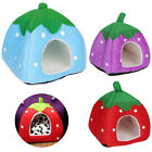 Cute Strawberry Pet Bed Dog Cat Kitten Puppy Cave Kennel House with Mat Foldable