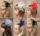 FASCINATOR - LOOPED FABRIC & FEATHER ON CLEAR COMB; WEDDING, RACES