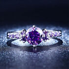 Women's CZ Amethyst S925 White Gold Plated Purple Birth Stone Statement Ring NEW