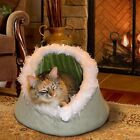 FurHaven Pet NAP Cave Fur-Trimmed Dome Hood Small Dog Bed or Cat Bed