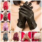 Women's Winter Warm Genuine Lambskin Leather Driving Soft Lining Gloves Fashion