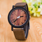 Men Womens Vintage Bamboo Wood Quartz Watch Leather Band Dial Plate Wristwatch