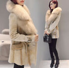 Women Big Fur Collar Suede Leather Warm Thick Jacket Trench Coat Parka Outwear