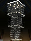 Modern Square Living Room LED Crystal Chandelier Lobby Hall stair ceiling light