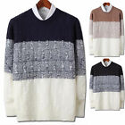 Mens New Fashion Twisted Color Bolck Round Crewneck Knit Sweater Top E007 S~XL