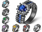 Size 6-10 Sapphire Emerald Black Stainless Steel Womans Engagement Rings