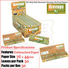 GREENGO Unbleached Smoking Papers 1¼ Regular - Multi Listings & Full Box