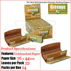 Greengo 1¼ Regular Chlorine Free Rolling Papers & Filter Tips - 2/4/6/12 & Box