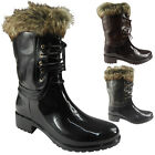 WOMENS LADIES WINTER RAIN FUR LACE UP ANKLE WELLIES WELLINGTON BOOTS SHOES SIZE
