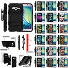 For Samsung Galaxy J3   Express Prime Hybrid Dual Layer Case with Kickstand
