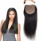 "3 Part Way Silk Straight Vrigin Human Hair 4x4"" Silk Base Lace Closure Natural"