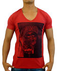 NEW MENS RED MARLE DEEP V NECK TSHIRT LA LOS ANGELES SLIM FIT FASHION CASUAL GYM