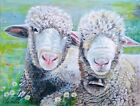 Painting of 2 sheep chilling by Julia Pankhurst, various print/canvas szs