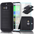 Black Shockproof Armor Rubber Hybrid Hard Case Cover + Glass Film For HTC ONE M8