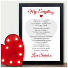 My Everything Personalised Poem Valentines Gift Anniversary Wedding Him Her