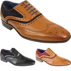 New Mens Tan Brown Faux Leather Lace Up Italian Designer Formal Brogue Shoes UK