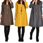 UK Women's Crewneck Long Sleeve Tunic Loose Tops Shirt Jumper Dress Plus S-5XL