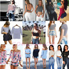 Womens Crew Neck Long Sleeve Off-Shoulder T-Shirt Casual Party Tank Top Blouse