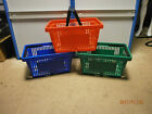 New Unused Moulded Plastic Shopping Basket with Handle - Red/Green/Blue