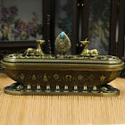 Tibetan Designed Alloy Eight Auspicious Incense Burner Metal Craft Home Decor