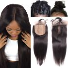 3 Part Brazilian Remy Human Hair Straight Silk Base Closure(4*4) Bleached Knots