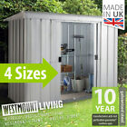 NEW 5x4 6x4 8x4 10x4 FT GALVANISED METAL LEAN-TO PENT GARDEN STEEL SHED