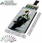Rossi Riding On Track Super Bike Moto - Universal Leather Phone Pouch Case Cover