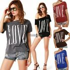Fashion Womens one Shoulder T-shirt cotton blend Casual Loose Tops Blouse tops