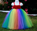 Babies Girls Rainbow Multi colour tutu dress bridesmaids Flowers princess party