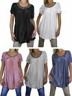 NEW (4038) Short Sleeve Tunic Top Sheen with Silver Detail 8-16