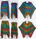 3 in 1 Tie Dye Asymmetrical Hem Stretch Skirt Strapless Top Poncho Jacket Sz S-M