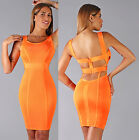 Womens New Neon Orange Plunging Back Sleeveless Mnin Bandage Dress Bodycon Hot