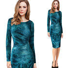 Womens Velvet Elegant Floral Ruched Ruffle Work Casual Party Bodycon Dress 4703