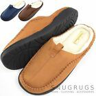 Mens Soft Fleece Mules / Slippers / Indoor Shoes with Warm Faux Fur Inners