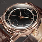 KS Silver Gold Steel Automatic Mechanical Date Leather Band Men's Watch