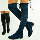 New Womens Over The Knee Boots Ladies Back Lace Low Heels Winter Shoes Size Uk