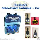 new BATMAN superhero Boys kids school large bag bags backpack + Tag Name Label