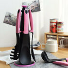 Pink Kitchen Utensil Cooking Tools Set with Rotate Storage Stand