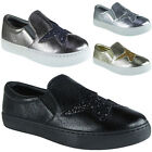 New Womens Ladies Trainers Slip On Flat Glitter Star Sneakers Pumps Shoes Size