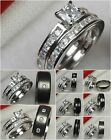 His Hers Princess Cut Sterling Silver 925 Wedding Ring Engagement Ring Set
