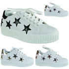 Womens Ladies Star Creepers Thick Sole White Trainers Flat Sneakers Shoes Size