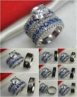 Asscher Cut Womens 925 Silver Mens Titanium Wedding Ring Engagement Ring Set