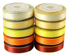 """LaRibbons 3/8"""" Wide Gold/Silver Edge Double Face Satin Ribbon, 5 Yards *10 Color"""