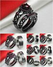 Couples Wedding & Engagement Ring Set Hers Pink Halo Gothic Black His Titanium