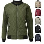 New Women Quilted Padded Puffer Ladies Zip Puffa Coat Bomber Jacket Ribbed Top