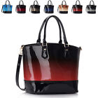 Celebrity Patent Faux Leather Ladies Two Toned Bucket Tote Women Shoulder Bags